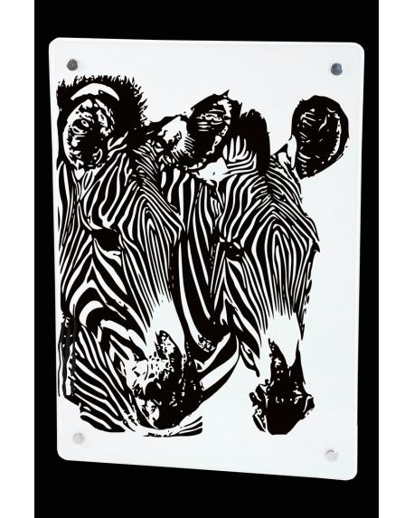 Grzejnik szklany z nadrukiem zebra